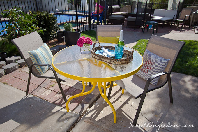 spray painted yellow patio table