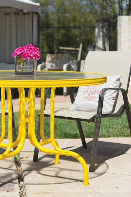 yellow patio table