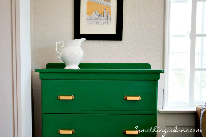 green painted dresser close