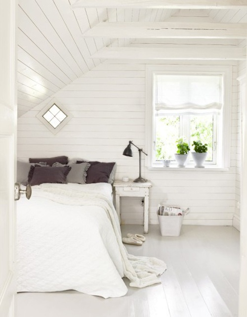 all white attic