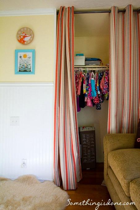 closet curtain open