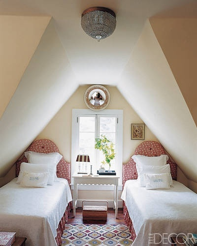 twin beds in dormer