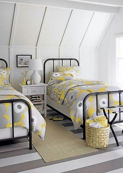yellow and white attic