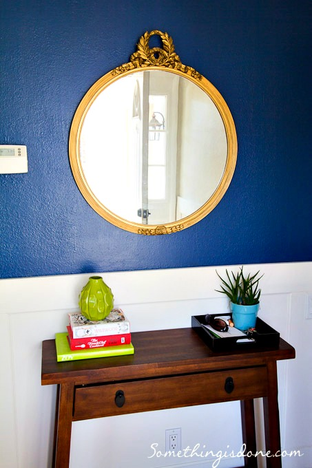 navy and gold foyer