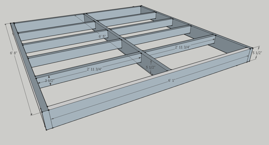 Bed frame 2 interior dimensions